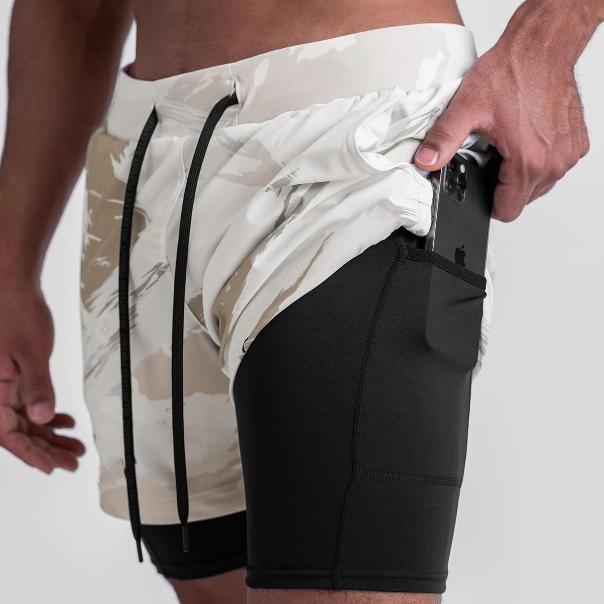 Мужские камуфляжные шорты для бега, 2 в 1, быстросохнущие спортивные шорты для бега и тренировок, мужские спортивные шорты, 2021