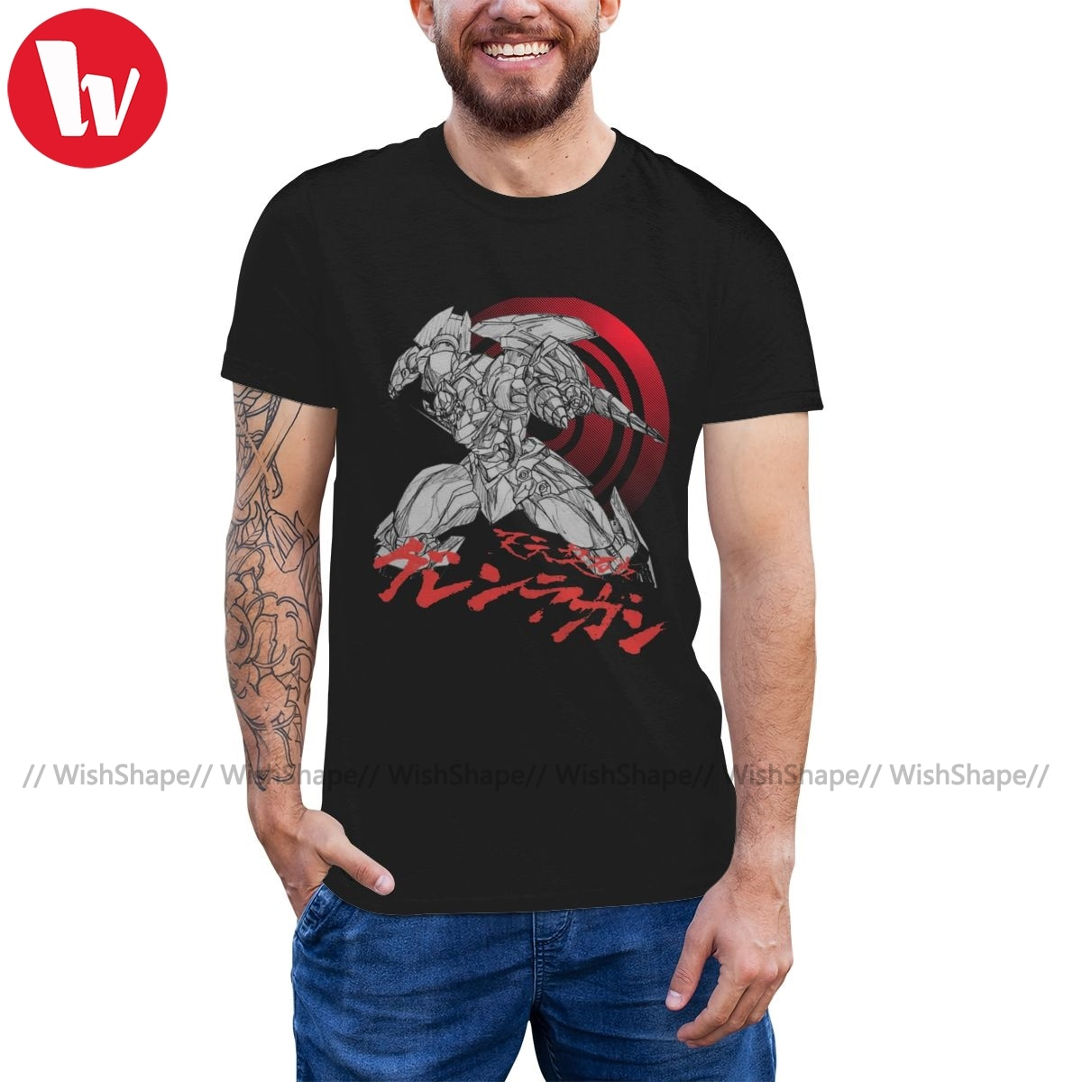 Camiseta Gurren Lagann, camiseta Gurren-Lagann, camiseta gráfica bonita, camiseta de manga corta de talla grande de verano para hombres