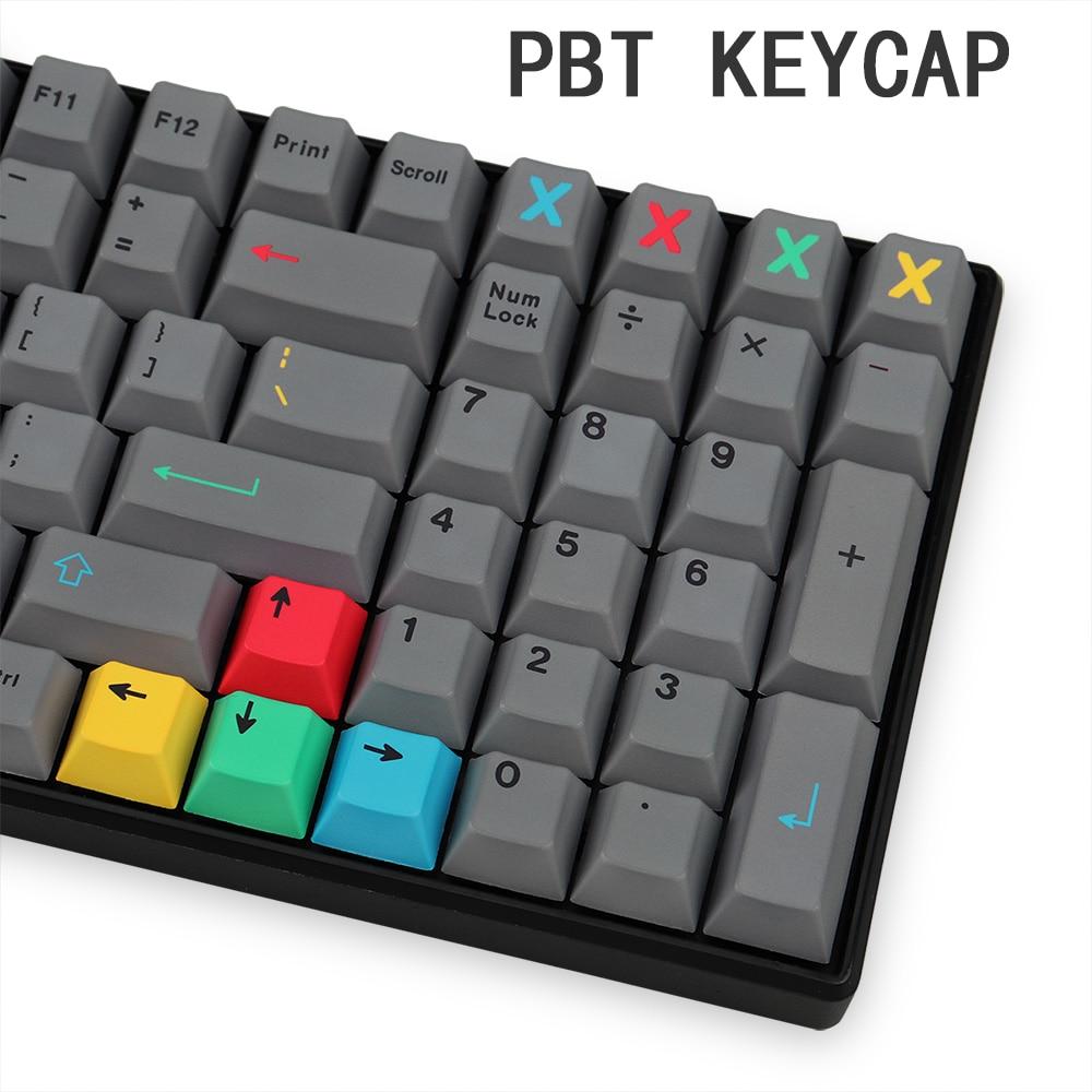 Колпачки для клавиш 129 клавиш PBT, колпачки для клавиш серии Cherry Profile DYE-SUB Grey, тематические колпачки клавиш GMK Dualshot для механической клавиатуры