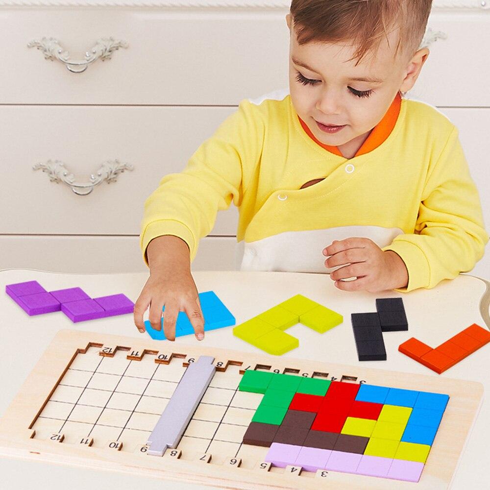 Los niños del bebé de madera 3D puzle rompecabezas de juguete Tangram rompecabezas geométrico juego de imaginación intelectual de los niños juguete regalos