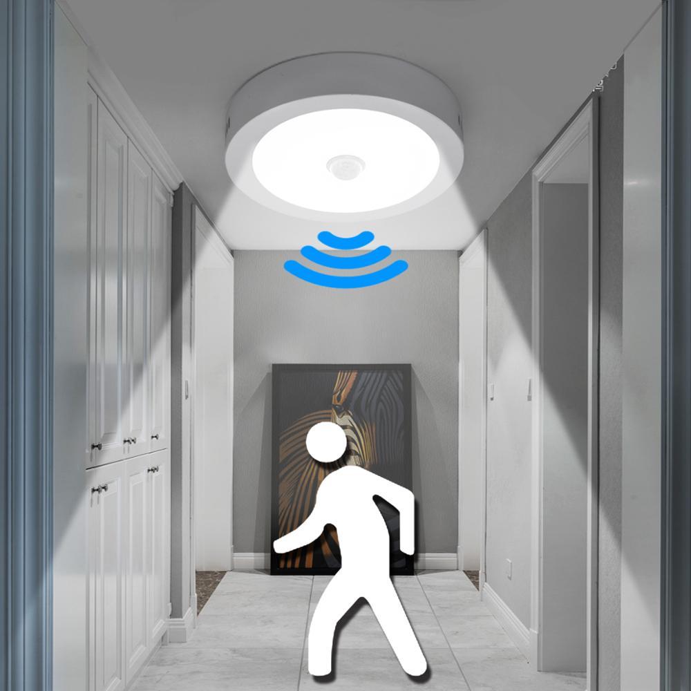 Sensor de movimiento PIR, lámparas de techo, luces de baño para interior, luces redondas de ahorro de energía, Led para baño, escalera, Panel de garaje, luz nocturna para garaje