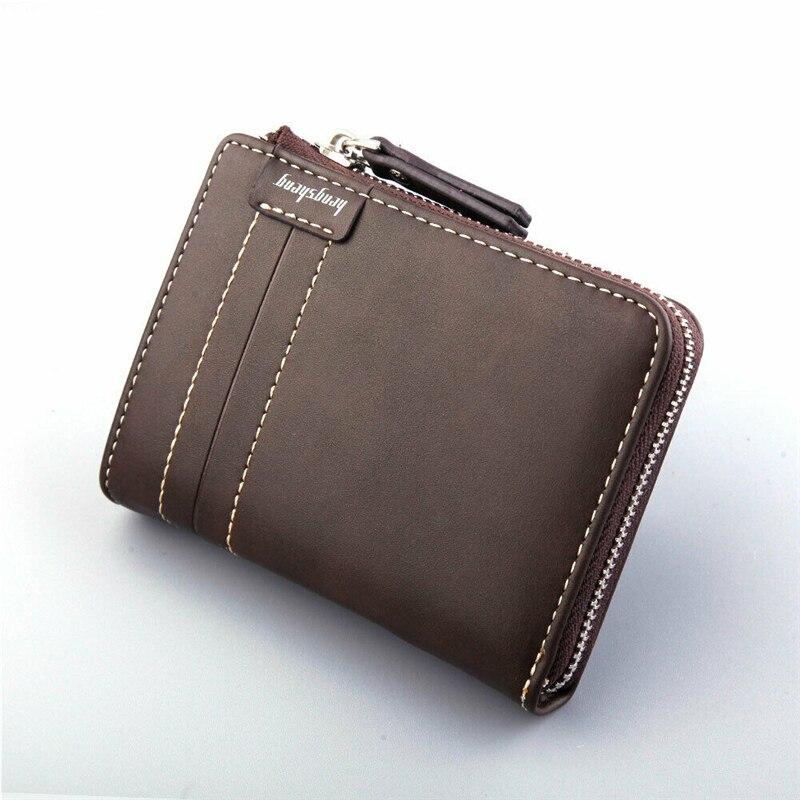 Titular do Cartão de Crédito Carteiras de Bolso Carteira Masculina Couro Rfid Bloqueio Zíper Fino