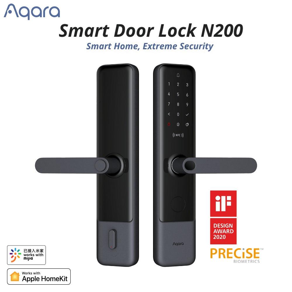 Aqara N100 N200 قفل الباب الذكي قفل بصمة صالح للبلوتوث كلمة السر NFC فتح العمل مع Mihome أبل HomeKit المنزل الذكي