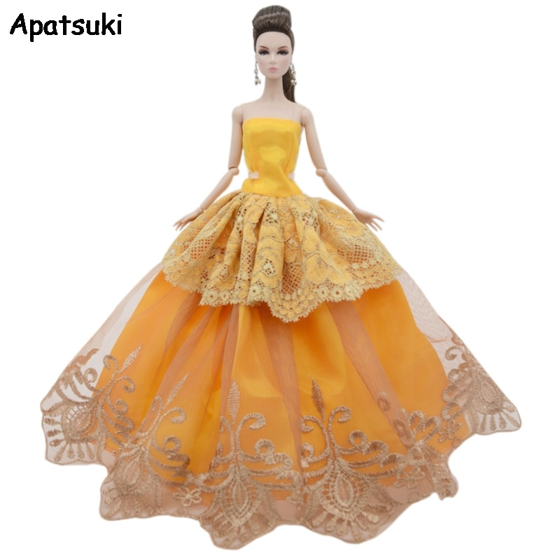 Yellow Lace Wedding Dress For Barbie Doll Outfits Party Gown Fashion Doll Clothes For 1/6 BJD Dolls Accessories Kids Toys