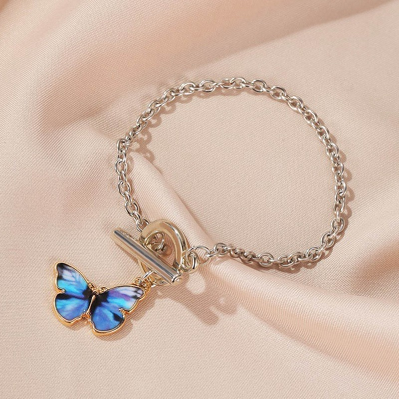 Esmalte romántico colorido colgante de mariposa con gradiente conjunto de joyería para mujer elegante pulsera con cadena para regalo de verano para chica