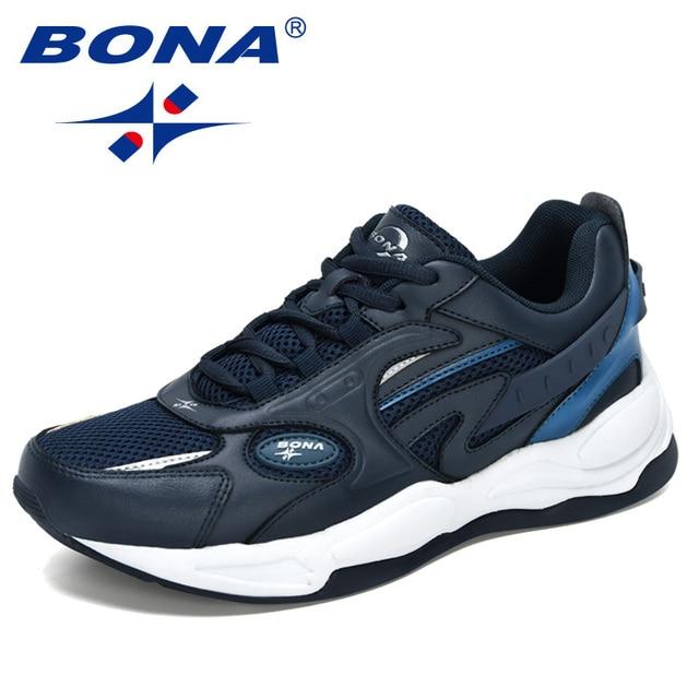 Bona 2021 New Designers Trendy Sneakers Men Thick Soled Street Running Shoes Man Jogging Sports Walking Footwear Mansculino Soft Running Shoes Aliexpress