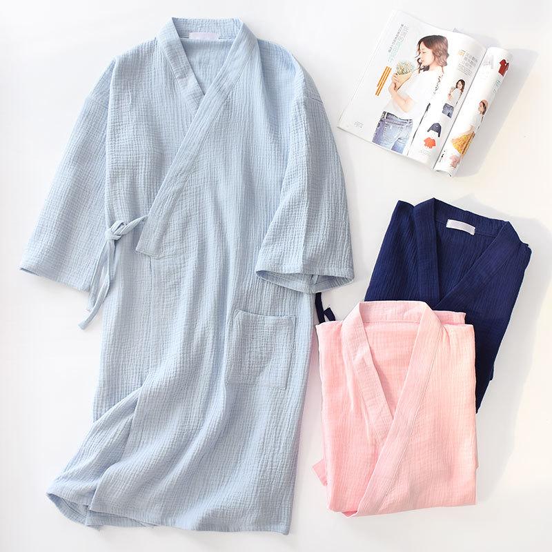 Summer 100% Cotton Crepe Double Gauze Japanese Kimono Robe Womens Robes Sleepwear Couple Dressing Gown Long Wedding Pajamas