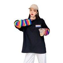 T-shirt Cool trucs à manches longues femmes décontracté été T-shirts femmes 2019 rayures imprimer ample décontracté Simple sauvage noir T-shirt