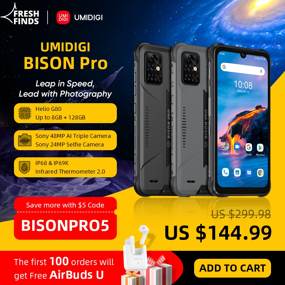 "[World Premiere] UMIDIGI BISON Pro Global Version Smartphone 128GB IP68/IP69K Helio G80 NFC 48MP Camera 6.3""FHD+ Screen 5000mAh"