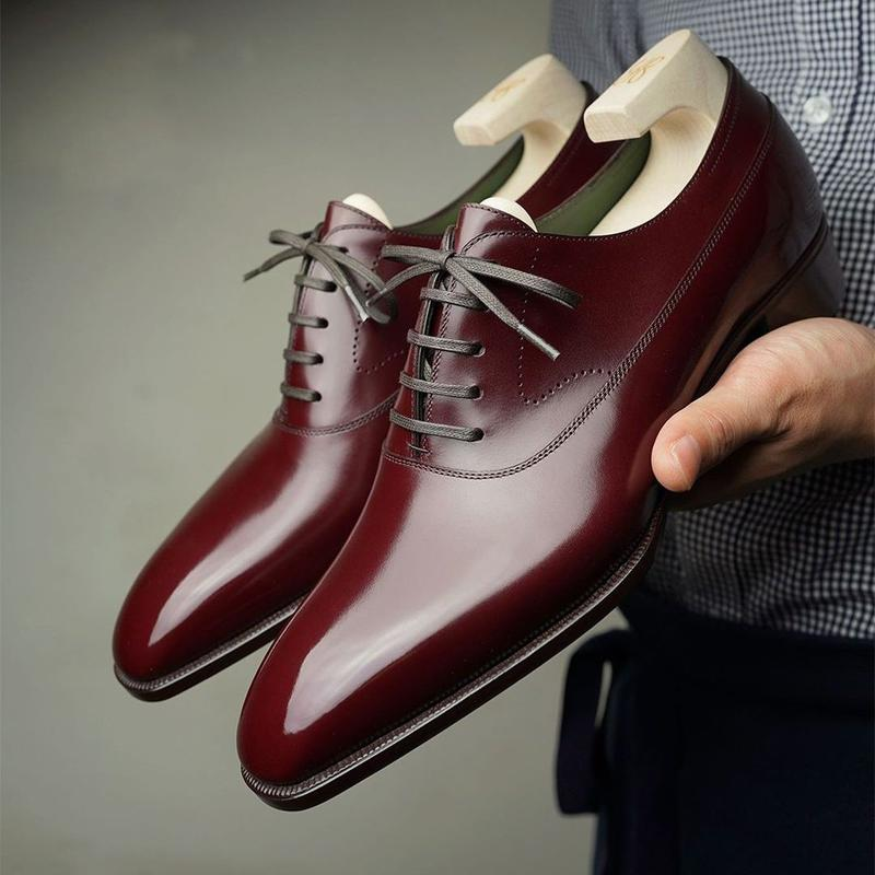 2021 New Men Shoes Handmade Red-brown PU Square Head Low-heel Two-stage Lace-up Fashion Business Cas