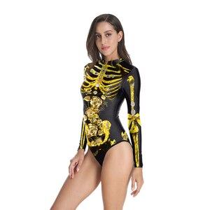 Новый ужас Золотой Желтый бикини скелет костюм для костюмированной игры, для Хэллоуина Костюм Женщины Купальники ужас анимация представление одежда