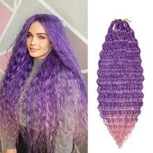 Deep Water Wave Twist Crochet Hair Crochet treccia Ombre intrecciatura estensioni dei capelli ricci Afro sintetici per donne a bassa temperatura