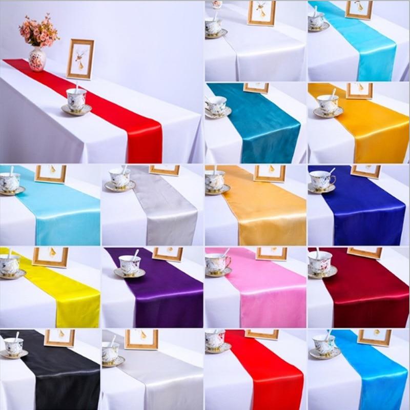 Camino de mesa de 10 piezas para decoración de bodas, bodas, fiestas familiares, mesa de satén, estilo europeo, dorado, rosa y azul