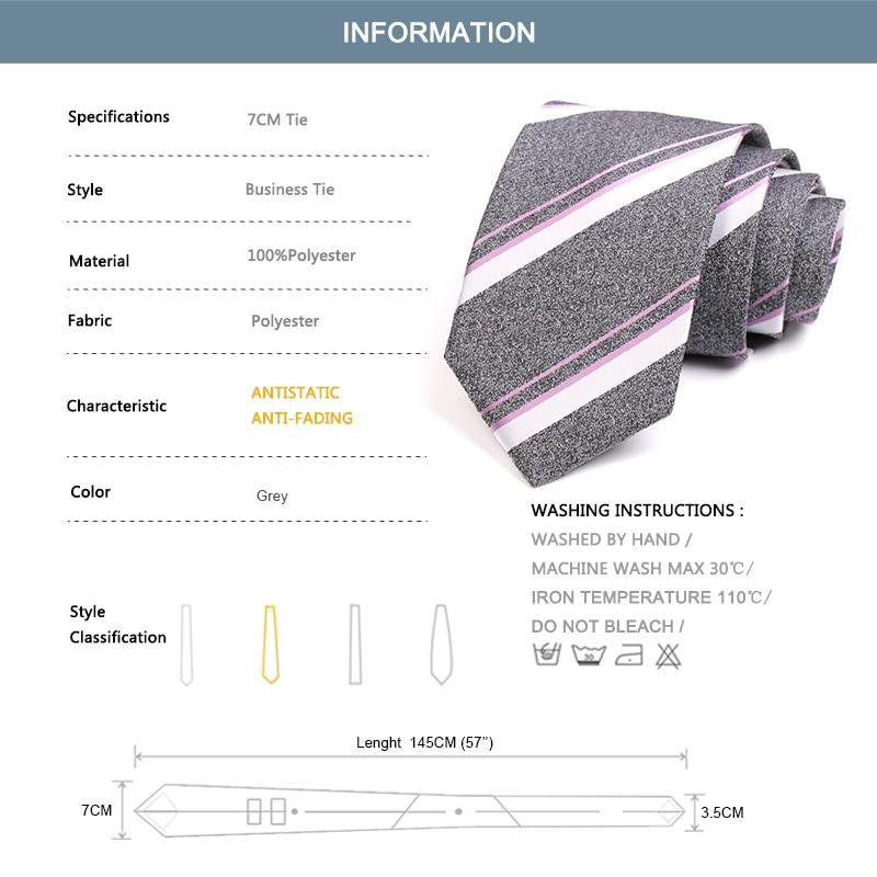 New Arrivals Men's Tie Classic Grey Stripe 7cm Ties For Men High Quality Business Suit Work Necktie Cravat Wedding Party Gift