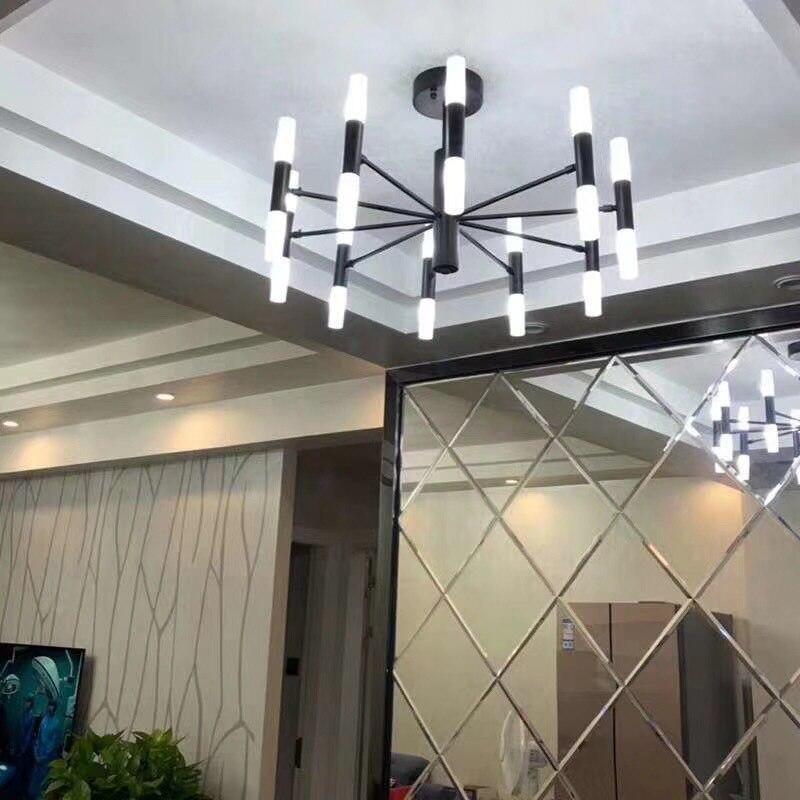 Nordic Simple Iron LED Chandelier Creative Personality Living Room Bedroom Lamps Restaurant Model Light Luxury Chandelier