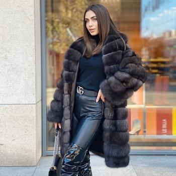 Women's Winter Fox Fur Coats Turn-down Collar Long Length Dark Sable Color Genuine Fox Fur Coat Full Pelt Fur Overcoats 2021