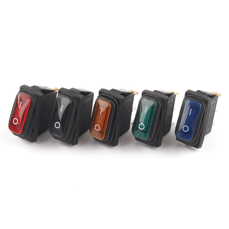 Waterproof Rocker Switch  35x17.5mm ON-OFF 2/3 Pin Electrical Equipment With Light Boat Power Rocker Switch 15A 250V/20A 125V hot sale10pcs 3 pin spst neon light on off rocker switch ac 250v 10a 125v 15a