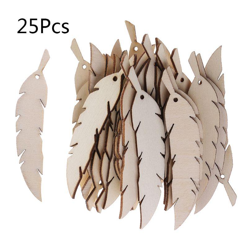 25 uds. Corte láser madera pluma embellecimiento forma de madera decoración para bodas artesanal A69D