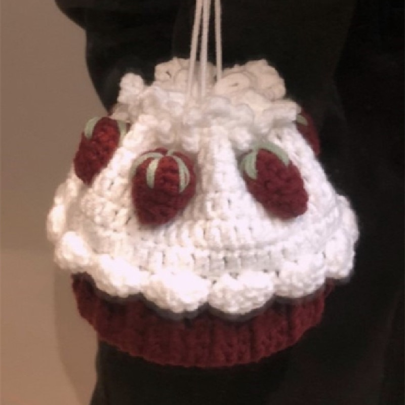 Hand Crocheted small bag cute cake Bag Messenger Bag knitting key bag mouth red bag snack bag children's bag