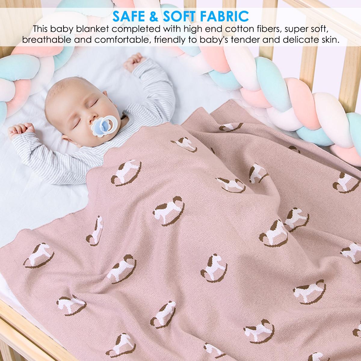 Baby Blanket Newborn Swaddle Stroller Bedding Wrap Cartoon Horse Infantil Boys Girls Receiving Blankets Children Quilts