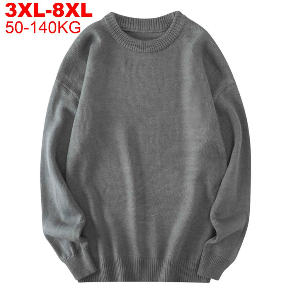 Man Big Plus Size 8xl 7xl 6xl 5xl Simple Winter Mens Oversized Sweater Men Sweaters Autumn Solid Jumpers Pullovers Male Knitwear
