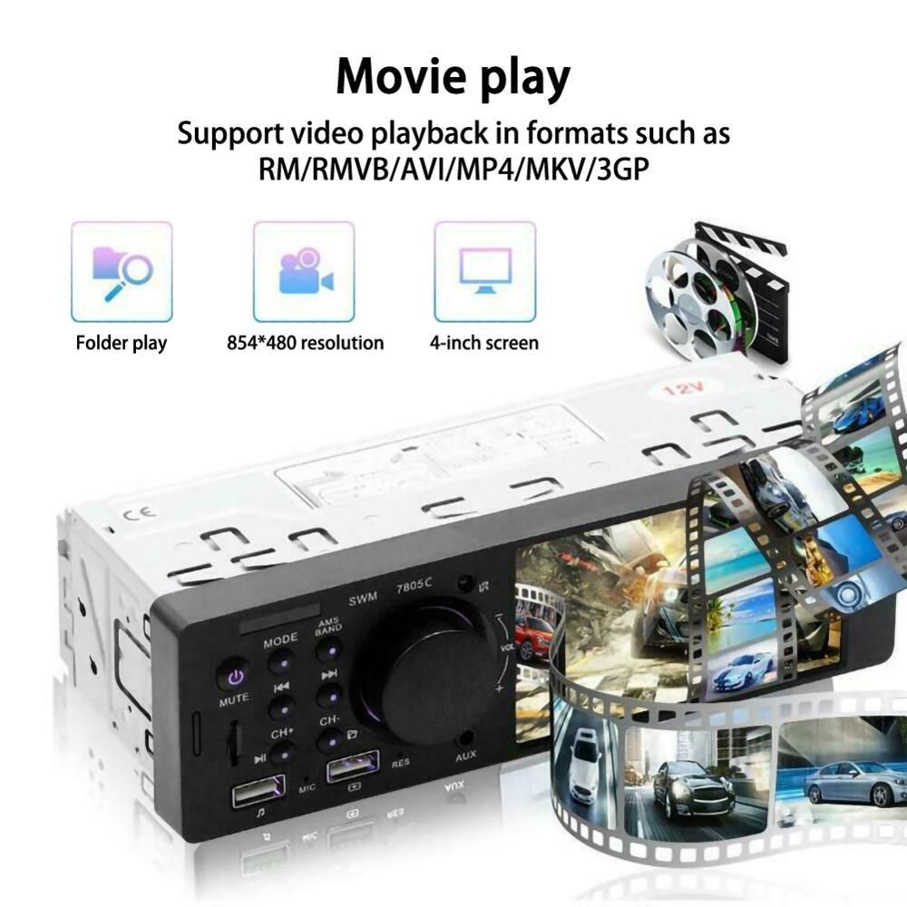 "4.1"" Bluetooth Autoradio Car Stereo Radio HD MP5 Player AUX Input FM Car MP3 Multimedia Player 12V 60W 1Din Car Stereo Radio"