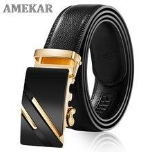 Cow Genuine Leather Belts For Men High Quality Male Brand Automatic Buckle Black Belt Cummerbunds Ci