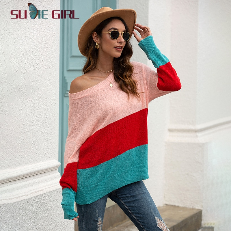 SUDIE Girl Ladies Fashion Luxury Style Long Sleeve Round Neck Pullover Sweater Women Stripe Stitching Strapless Knit