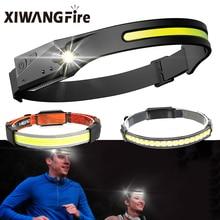 COB LED Sensor Headlight Bendable Headlight with Built-in Battery USB Rechargeable Headlight Flashlight Torch Camping Work Light