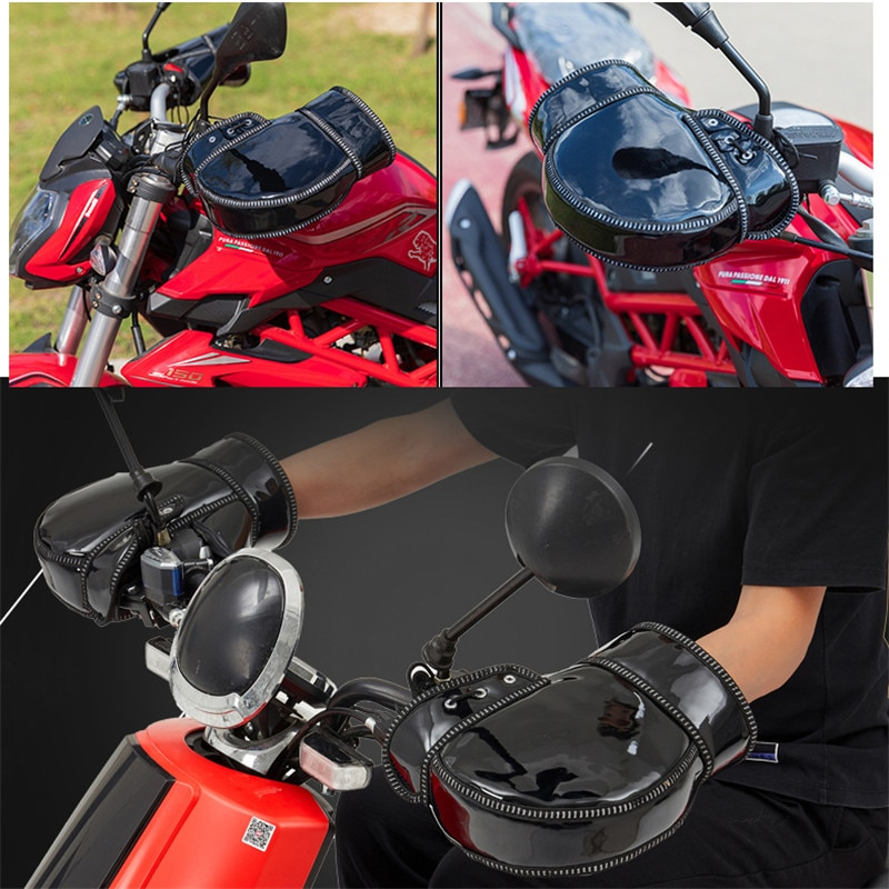 moto handguard windproof part warm velvet covers for benelli vespa yamaha harley softail cold winter motorcycle handlebar gloves enlarge