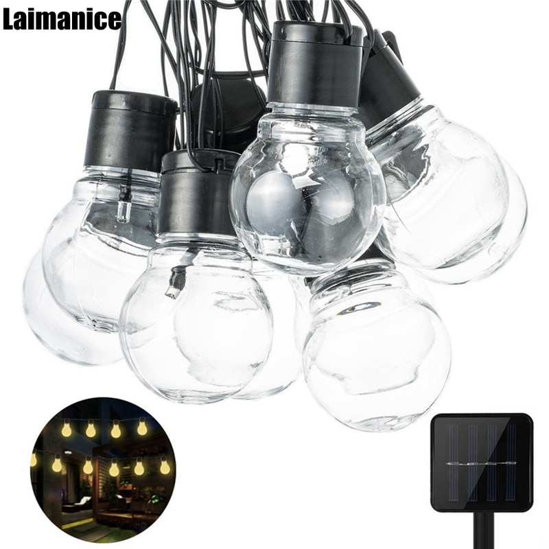 Laimanice 2,5 м 10 светодиодов, прозрачная лампа, глобус, солнечные струнные огни, водонепроницаемые, 5 см, большой шар, сказочные огни, наружный све...