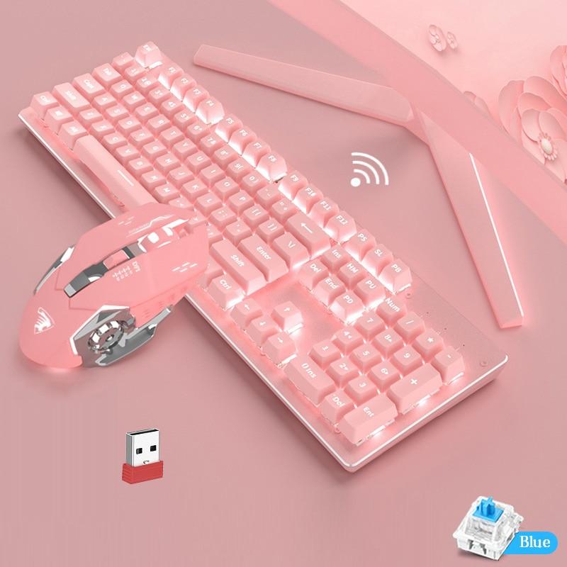 2.4GHz Wieless Mechanical Keyboard 104 Keycaps Full Key No Punch Mechanical Gaming Keyboard Green Switch Pink Wireless Keyboard