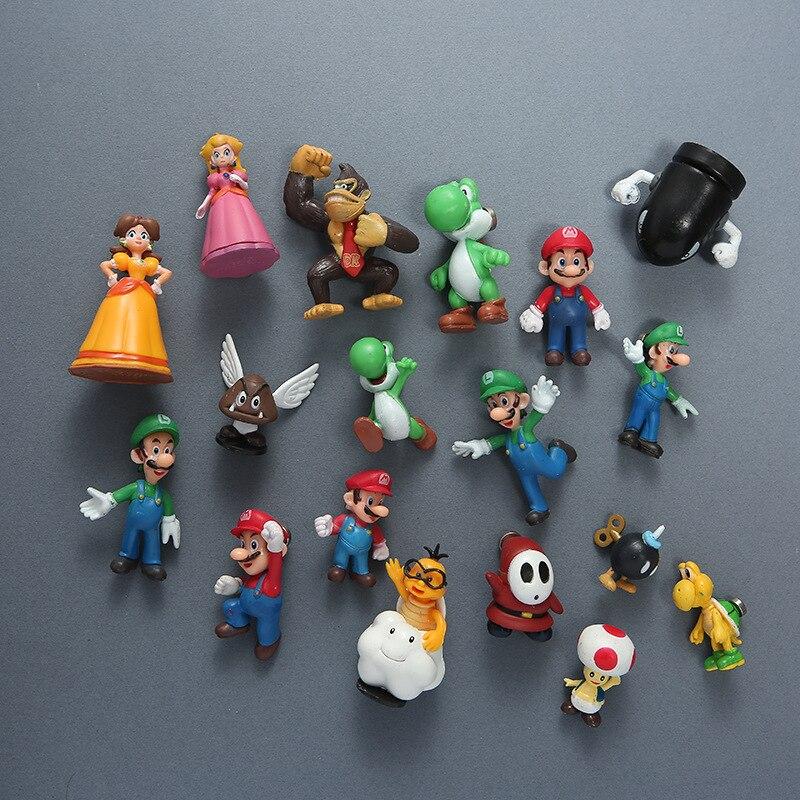 18 шт. Супер Марио Персик Принцесса Супер Марио и Луиджи ПВХ магниты на холодильник игрушки 3D стерео экшн игрушечная фигурка модель детские п...