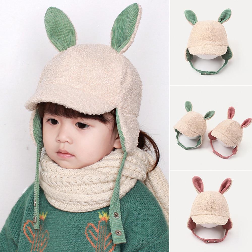 Autumn Winter Children Boys Girls Kids Warm Hat Adjustable Windproof Fleece Rabbit Ear Pattern Cap C