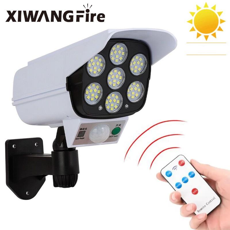 XIWANGFIRE LED Solar Light Motion Sensor Waterproof Virtual Camera Light 77 LED Powered Solar Street Light For Garden Decoration