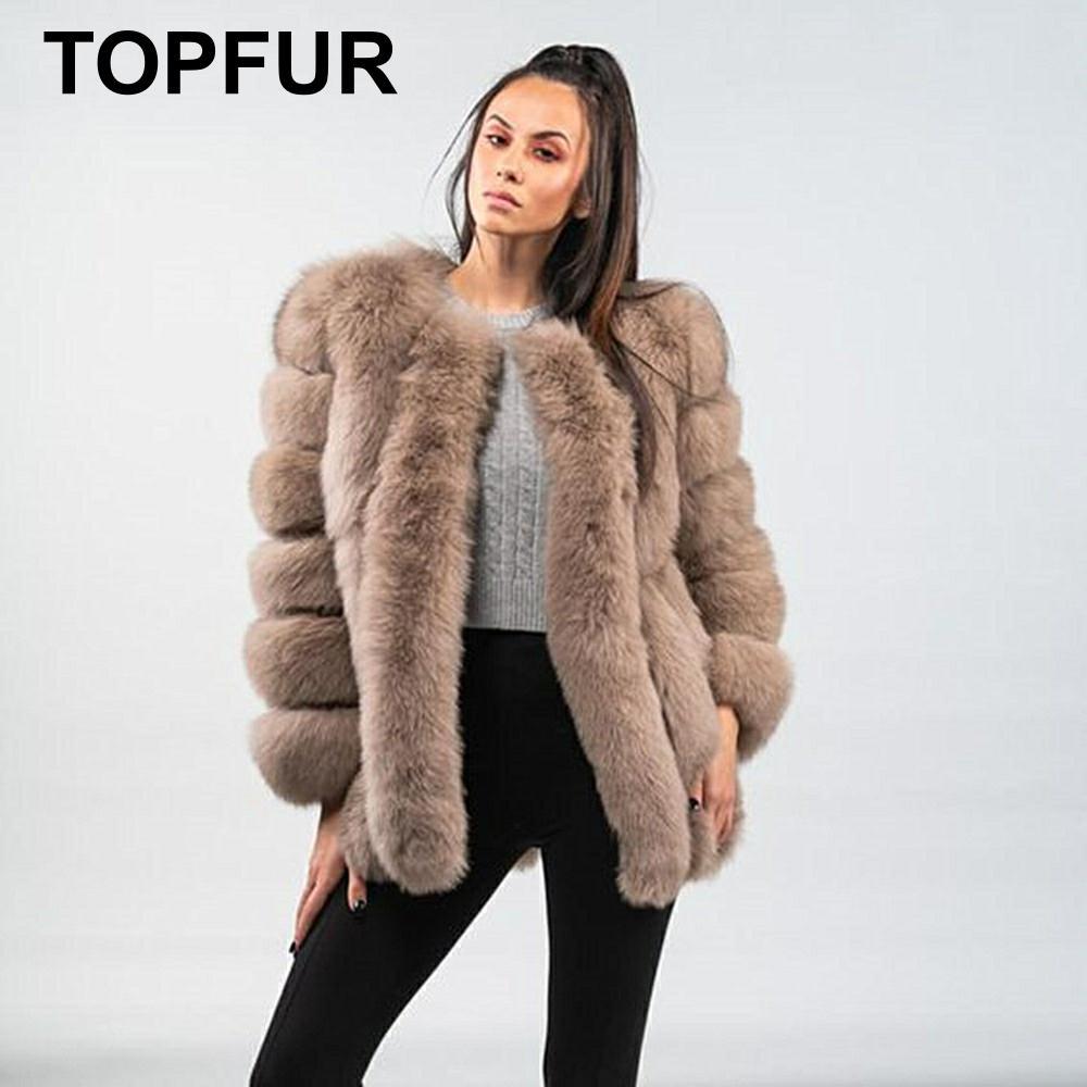 TOPFUR 2019 Fashion Winter Short Coat Full Sleeves Leather Jacket Women Real Natural Fox Fur Coat Women Manteau Femme Plus Size