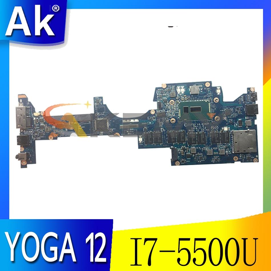 Akemy zip s3 LA-A342P لينوفو ثينك باد اليوغا 12 اللوحة الأم FRU 00HT707 01AY506 وحدة المعالجة المركزية I7 5500U 8G RAM 100% اختبار العمل
