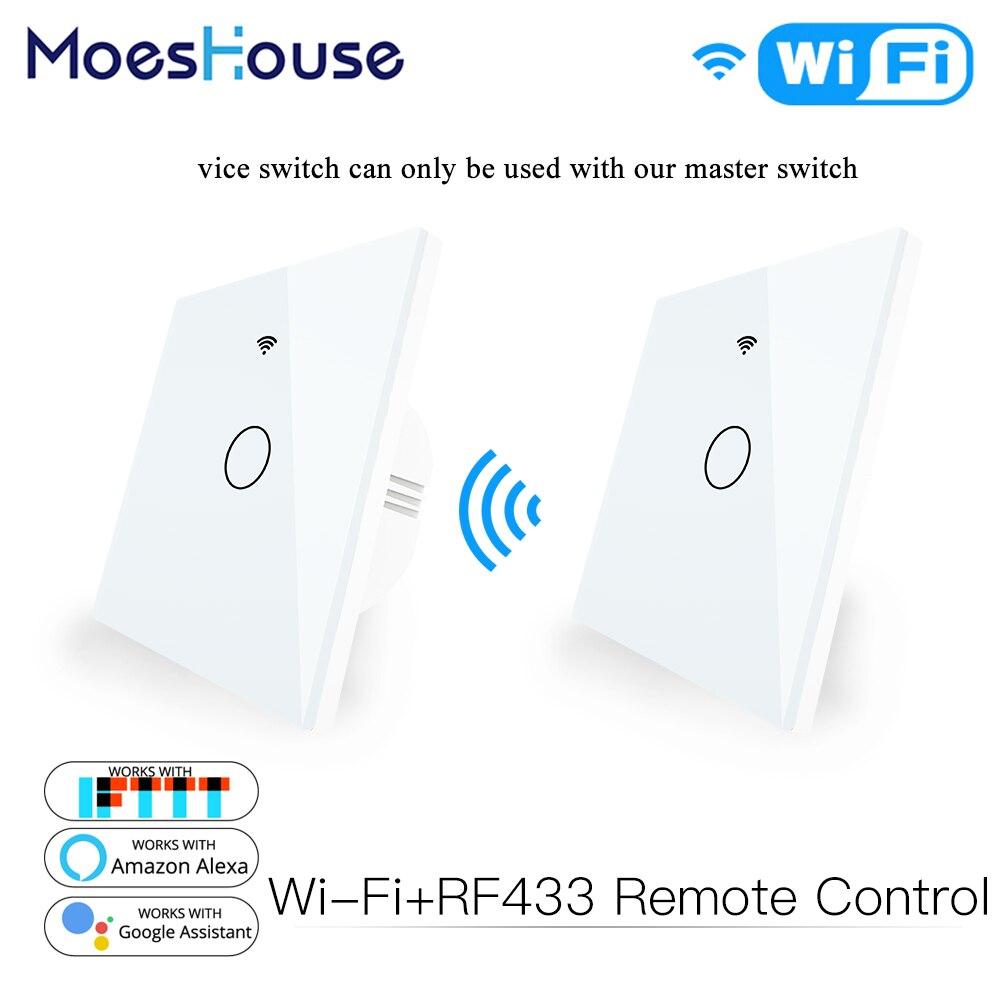 Interruptor táctil del Panel de cristal inteligente WiFi RF433 Panel de pared del transmisor 1/2/3 Gang interruptor de Control remoto funciona con Alexa Google Home