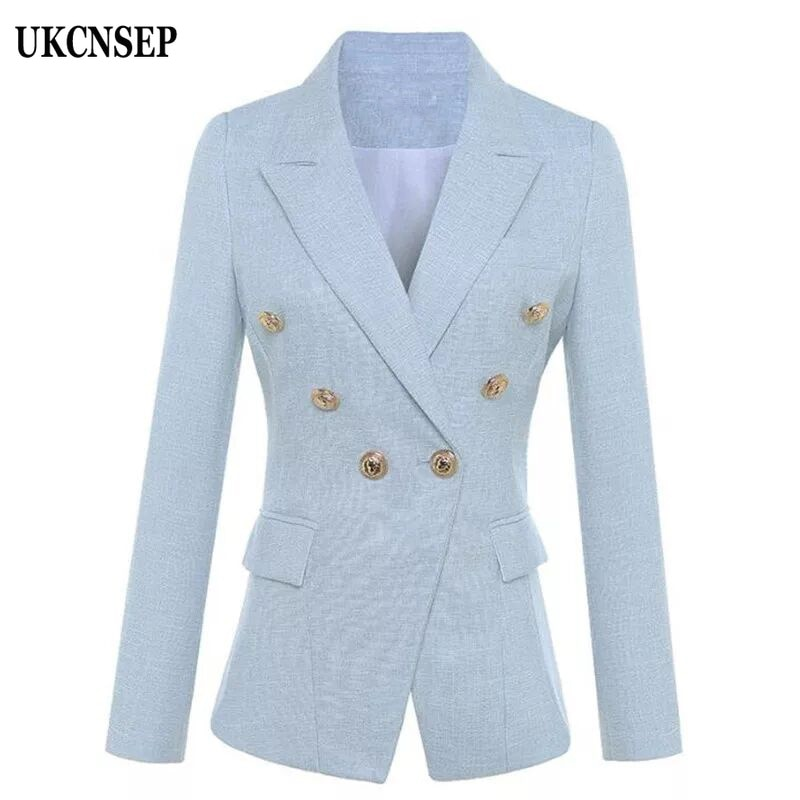 UKCNSEP 2020 Otoño Invierno mujer Blazer azul cielo manga larga doble botonadura botón chaqueta mujer chaqueta