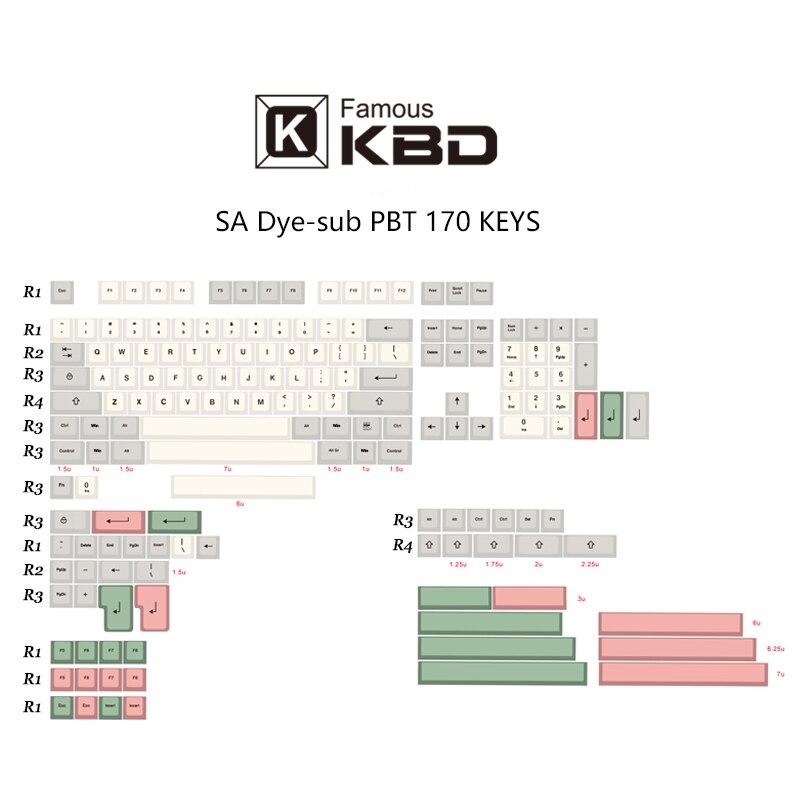 SA 9009-أغطية مفاتيح cherry PBT dip ، 170 مفتاحًا ، باستخدام معظم لوحات المفاتيح الميكانيكية
