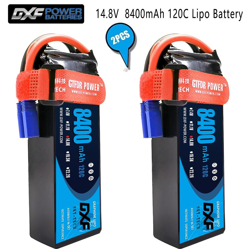DXF 2PCS Lipo Battery 2S 3S 4S  7.4V 11.1V 14.8V 5200mAh 8000mAh 8400mAh 100C 200C 110C 220C 120C 240C for 1/8 1/10 Buggy car