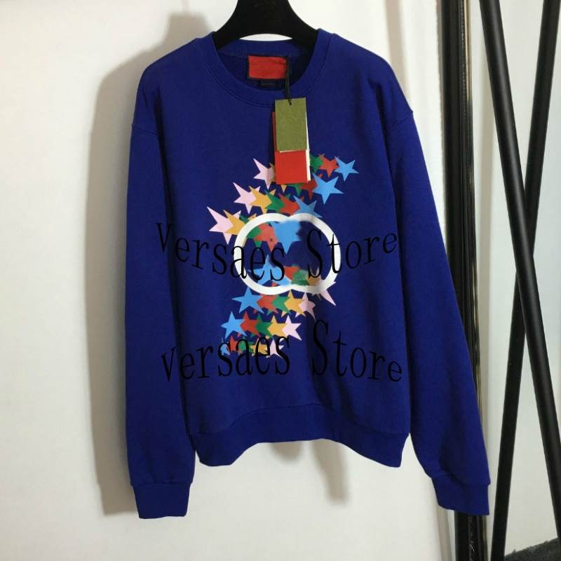 luxury brand five pointed star printing fashion women's top temperament round neck versatile loose casual long sleeve Pullover