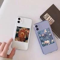 art flowers beautiful fashion phone case transparent for clear iphone 11 12 8 7 6 6s xs max plus x 5s se 2020 xr mini pro