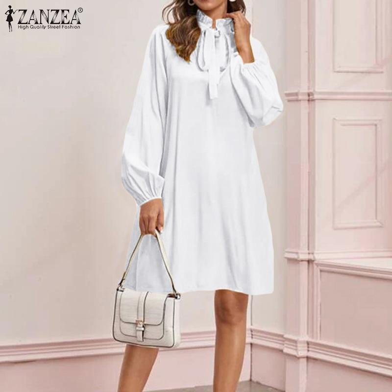 ZANZEA Frauen Lange Shirts Kleid Sexy Mini Vestidos 2020 Mode Damen Rüschen Hals Feste Kurze Kleider Party Sommerkleid Robe Femme