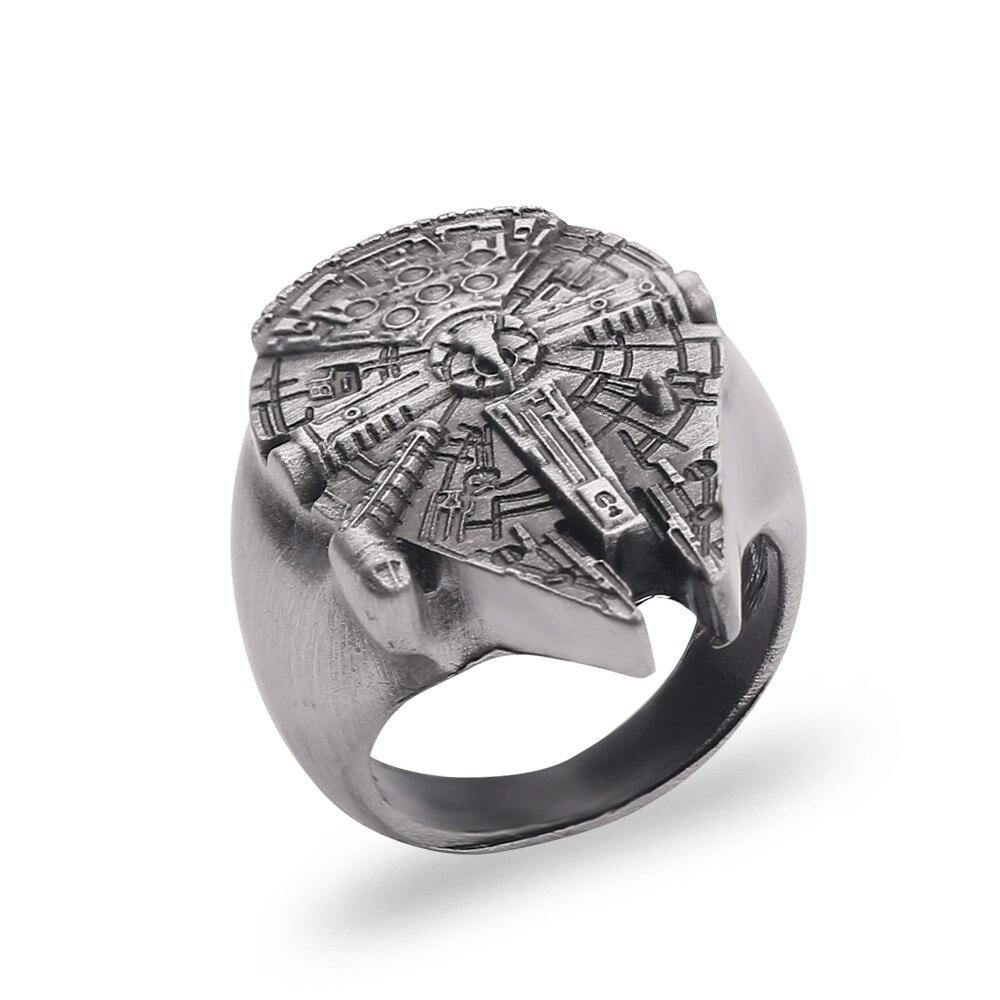Anéis de guerra das estrelas dos homens moda jóias acessórios de festa antigo anakin skywalker nave espacial falcon anel feminino presente