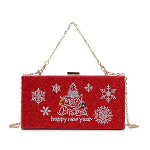 Luxury Diamond Christmas Design Party Clutch Bag Evening Bag for Women Shoulder Bag Crossbody Chain Bag Female Designer Bag