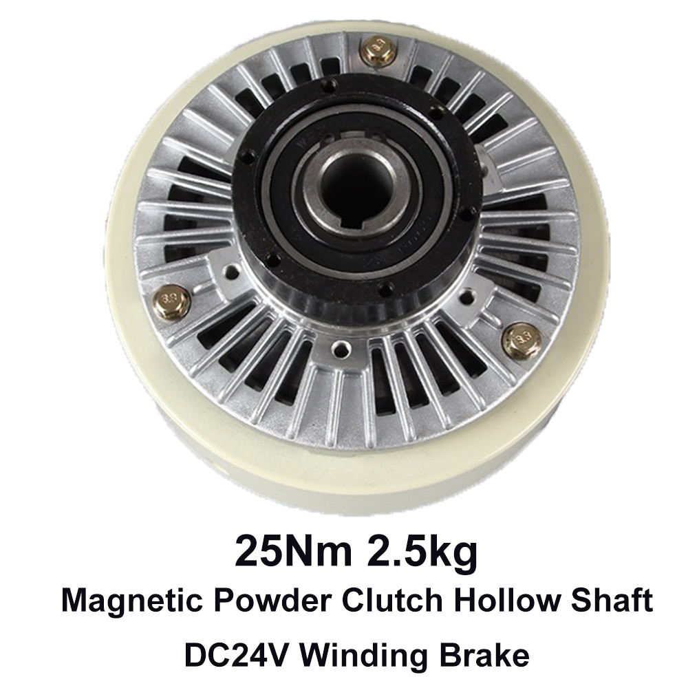 Magnetic Powder Clutch Hollow Shaft 25Nm 2.5kg DC24V Winding Brake for Tension Control Bagging Printing Packaging Dyeing Machine