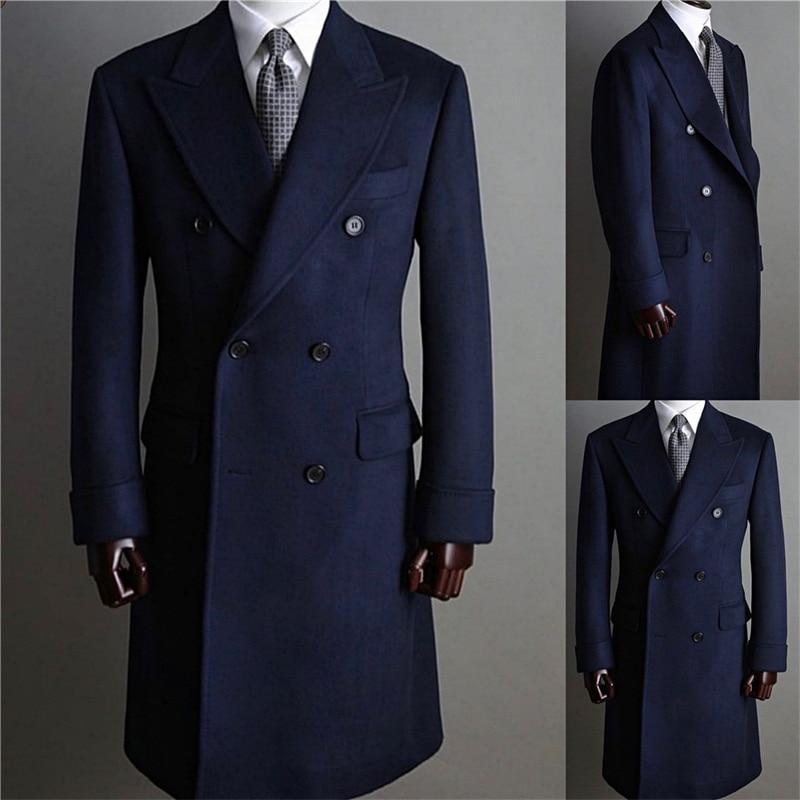 بدلة رسمية للرجال من الصوف السميك ، سترة مزدوجة الصدر مع طية صدر السترة ، ملابس عمل طويلة