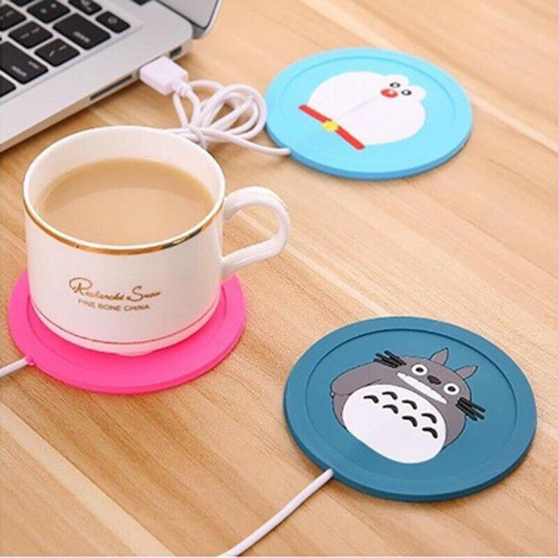 Caliente USB Power Suply Oficina dibujos animados lindo té y café calentador tipo taza de calefacción Mat posavasos