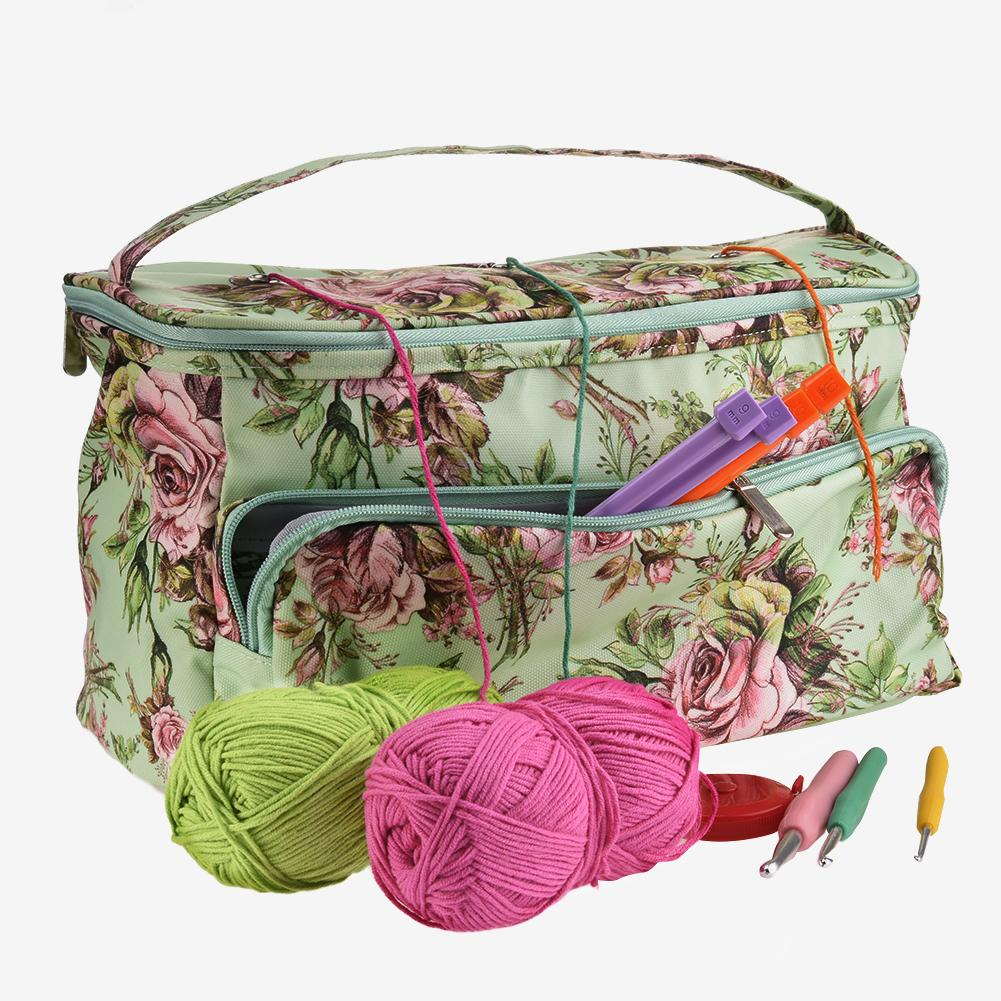 Bolsa tejida, bolsa de almacenamiento diaria para el hogar, bolsa de mano con aguja para coser de hilo de lana a ganchillo, herramienta para tejer, bolsa de almacenamiento de hilo